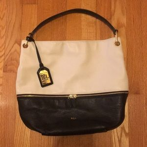 Lauren Ralph Lauren Black and White Leather Purse